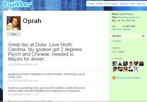 Oprah стала мільйонером на Твітері за 28 днів