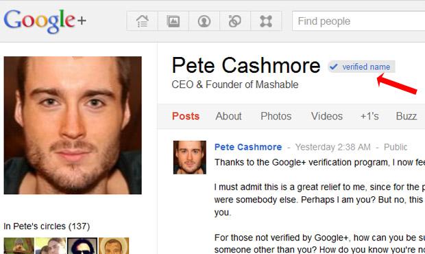 Google+ розпочав верифікацію екаунтів знаменитостей
