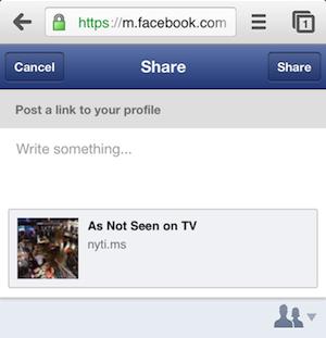 Facebook запускає кнопку «поділитися» («Share») для мобільної версії