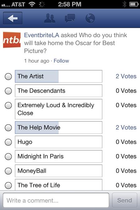 Facebook опитування з'явилися у мобільній стрічці новин