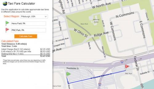 Bing Maps може рахувати вартість проїзду в таксі