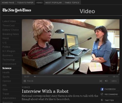 Журналістка New York Times взяла інтервю у робота