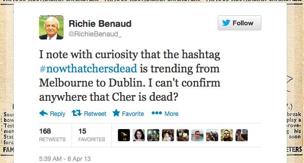 Через хеш теґ про Маргарет Тетчер твіттеряни подумали, що померла співачка Шер