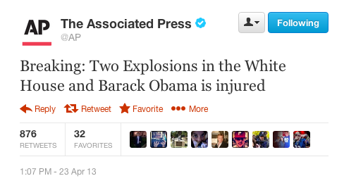 Фейкове повідомлення про вибухи в Білому домі спричинило зниження індексу Доу Джонса