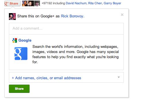 Google+ запустив кнопку Share