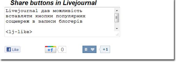 Як вставити кнопки «like», «мне нравится» і «+1» в LiveJournal (оновлено)