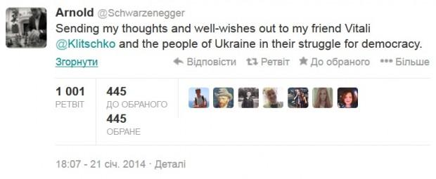 Арнольд Шварценеггер підтримав у Твітері Віталія Кличка та український народ