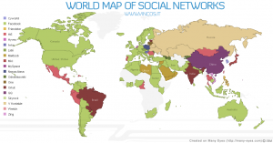 Карта поширення найпопулярніших соціальних мереж світу
