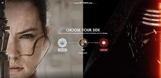 Google дав можливість обрати темну або світлу сторону у своїх сервісах для шанувальників «Зоряних війн»
