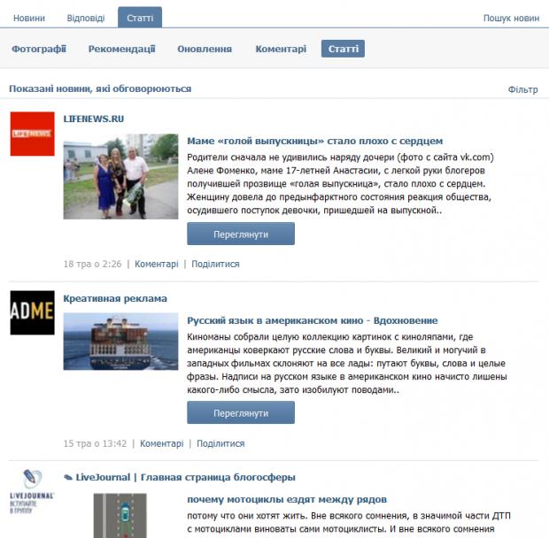 ВКонтакте показує популярні статті на сторінці новин