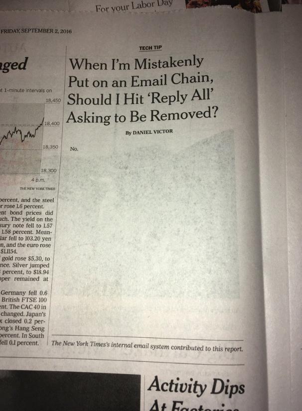 В The New York Times вийшла найкоротша стаття   в ній лише одне слово