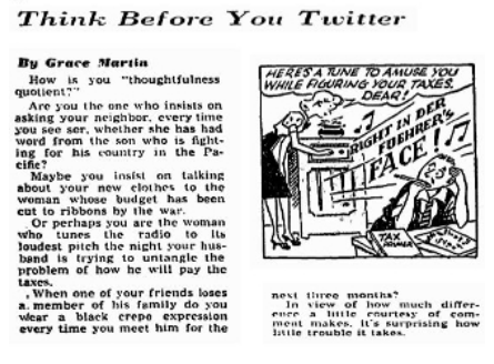 The Washington Post ще в 1942 році попереджала Think Before You Twitter