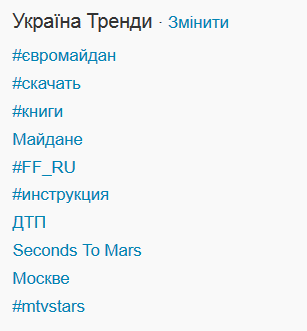 #ЄвроМайдан в топах українського твітера вже майже 12 годин