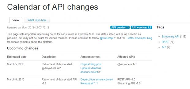 Twitter запускає календар для відстежування змін в API