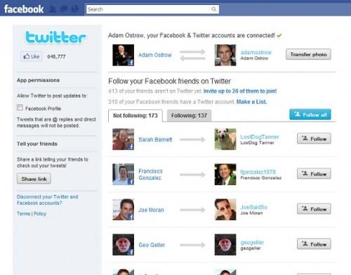 В Твітері можна фоловити ваших друзів з Facebook і LinkedIn
