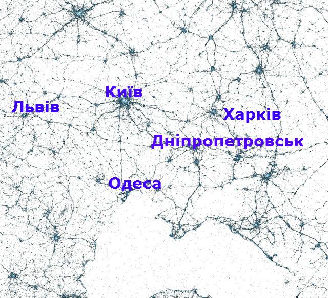 Карта поширення Твітера в Україні