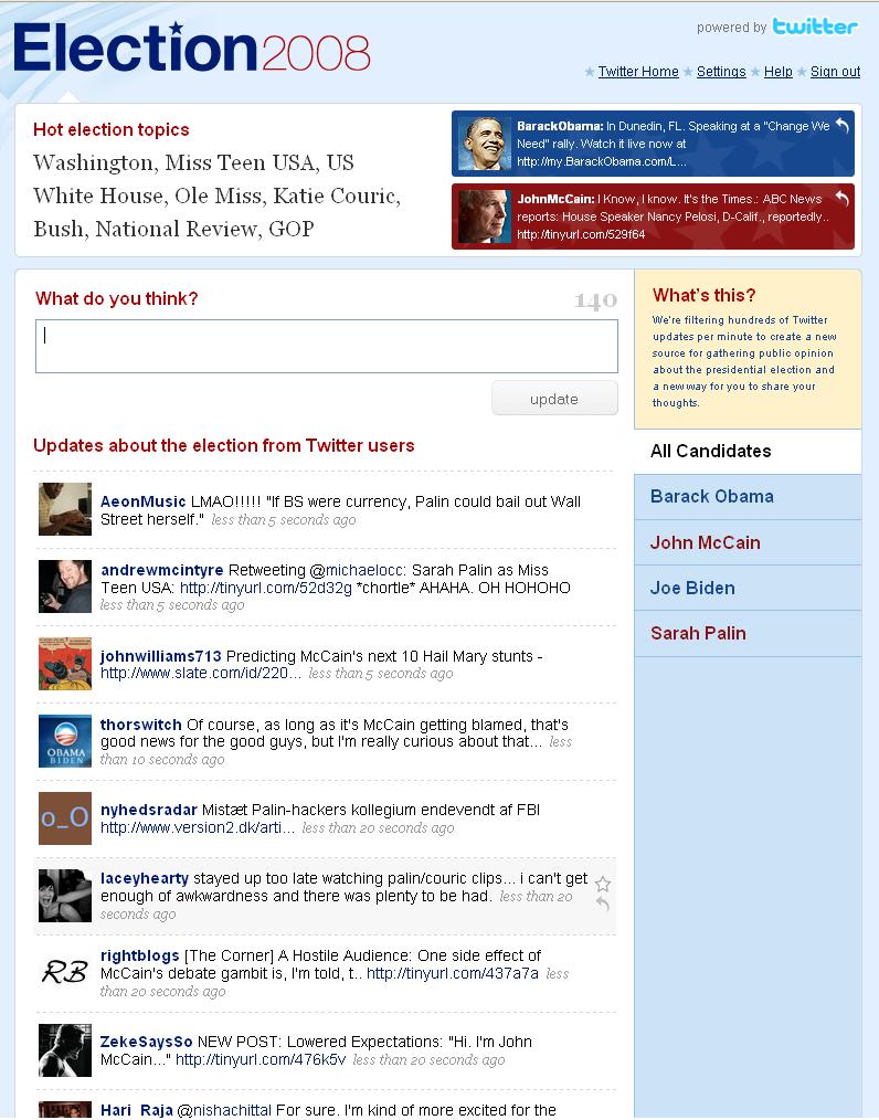 Мікроблогінг Twitter активно використовується під час президентських виборів в США