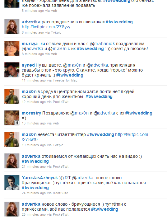 Онлайн-трансляция свадьбы в Twitter