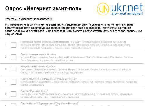 UKR.NET проводить «Інтернет екзит пол»