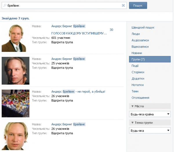 На Вконтакте зявилися групи, присвячені норвезькому терористу