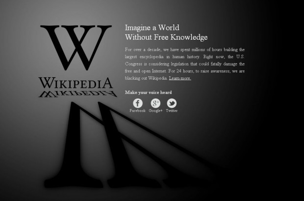 Wikipedia, Wordpress та інші сайти поринули в темряву, протестуючи проти закону SOPA