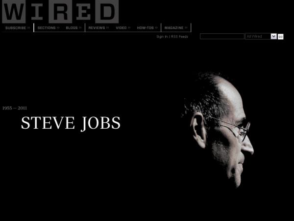 Смерть Стіва Джобса: Google i Wired змінили свої головні сторінки