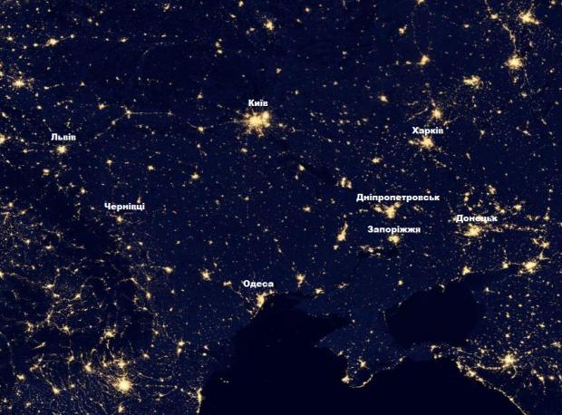 В Google Maps тепер можна подивитись, як виглядає Україна вночі з космосу