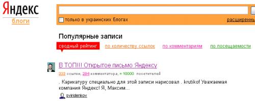 Яндекс оголосив про закриття рейтингу записів блогосфери