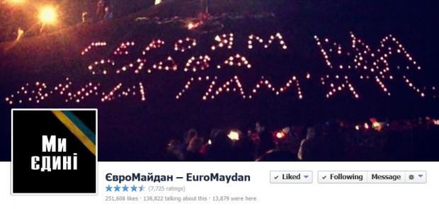Сторінка Євромайдану стала найпопулярнішою українською сторінкою у Facebook