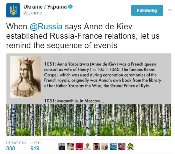 Суперечка офіційних екаунтів України та Росії в Twitter через Анну Ярославну викликала фурор в твітерян